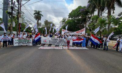 Momento de la manifestación. (Foto Sinamed)