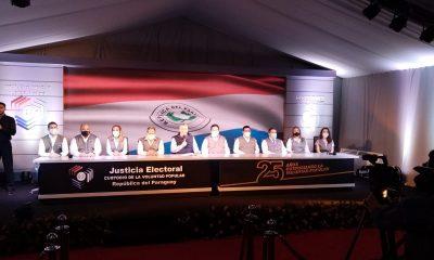 Comisión Especial de Elecciones en conferencia de prensa. (Foto Gentileza),